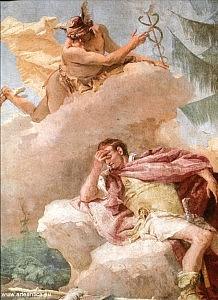 Mercurio incita Enea a lasciare Cartagine