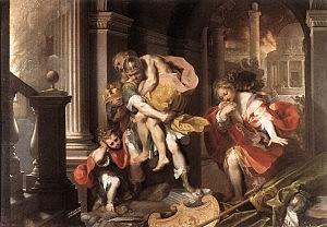 Enea in fuga insieme ad Anchise, Ascanio e Creusa