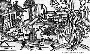 L'immagine Gli attrezzi dei coloni (Georg. I, 160-175) è tratta da P. Vergilius Maro, Opera, Lugduni 1529 in Typographaria Officina Joannis Crespini