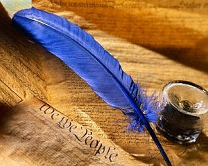 Quill Pen and Inkstand on Facsimile of the Constitution